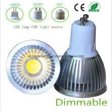 Dimmable 5W branco GU10 COB luz LED