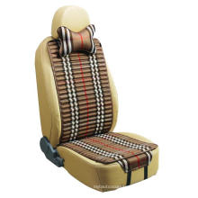 Car Seat Cover Flat Shape Double Sides Use with Checked Flax and Pleuche-Beige