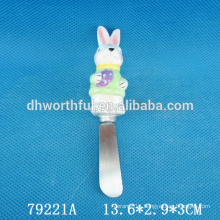 Ceramic butter knife with rabbit handle for easter decor