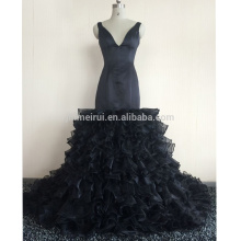 2017 Black Evening Dress vestidos de noiva V-Neck Organza Formal Prom Gowns