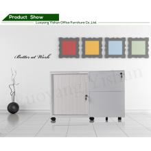 mobile tambour door filing cabinet with 2 shelves