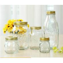 Venta al por mayor 100ml Mini Vacío Pudding leche botella de vidrio Mason Jars con tapa de plástico