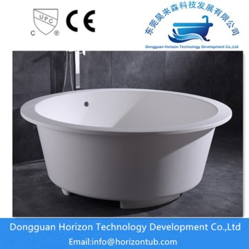 Round solid surface bath tub