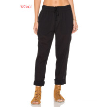 Black Cotton Drawstring Waist Beach Pants