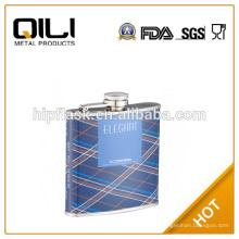 Рекламные Голубой цвет 6 унций теплопередачи печати PU кожа металла Фляга