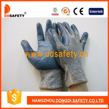 Glass Fiber Liner Cut Resistant Gloves Coating Blue Nitrile Dcr116