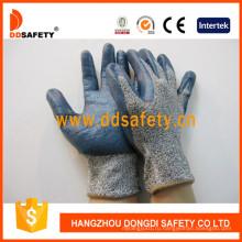 Стеклянный Вкладыш Волокна Порезостойкие Перчатки Покрытием Синий Нитрила Dcr116