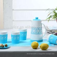 juego de tetera de cerámica con funda protectora de silicona para taza y base de silicona antideslizante para cafetera