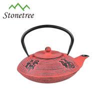 Théière en fonte émaillée en métal antique chinois
