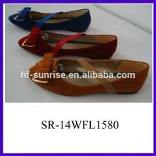 Synthetische materail Damen Mode Bogen oberen bequemen flachen Schuhe 2014 Frauen flache Schuhe