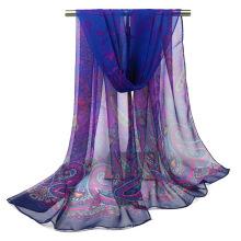 Moda verão proteção caju impresso lenço leve mulheres georgette lenço hijab