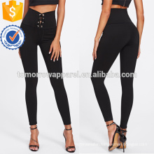 Black Eyelet Lace Up Leggings OEM/ODM Manufacture Wholesale Fashion Women Apparel (TA7036L)
