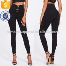 Черное ушко зашнуровать Леггинсы OEM и ODM Производство Оптовая продажа женской одежды (TA7036L)