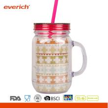 Acrylic Diy Mason Jar Wholesale With Stripe Straw