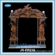 Sale Grand Polishing Brown Marble Angle Fireplace with Led Light