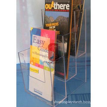 3 Tier Clear Brochure Display Racks , Wall Mount Magazine Rack