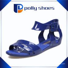 Heißer Verkauf bequeme blaue flache Sandalen für Mädchen