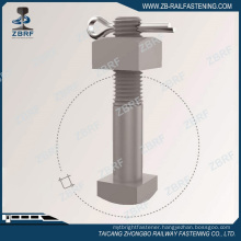 Square head bolt with nut and cotter pin