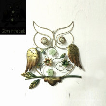 Glows in The Dark Owl Metal Wall Decoration for Garden