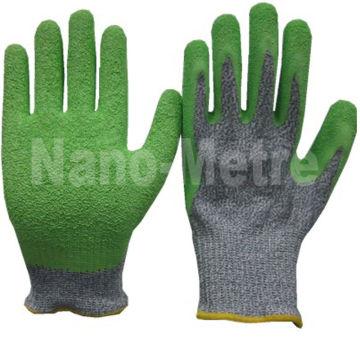 Luvas resistentes ao corte revestidas com látex verde NMSAFETY