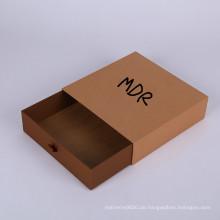 Quadratisches Logo des kundenspezifischen Entwurfs, das offenen Kraftpapier-Fach-Geschenk-Verpackungs-Kasten schiebt