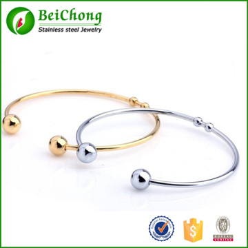 Fashion Women Cuff Jewelry Opening Bead Silver And Gold Titanium Steel Adjustable Bracelet Bangles