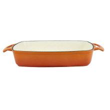 cast iron rectangular enamel baking tray