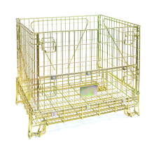 Contenedor de jaula de almacenamiento de metal plegable