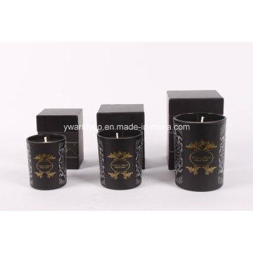 Vela de vidrio negro Jar con logotipo personalizado