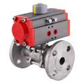 Válvula de bola neumática 3-PCS con tipo de brida