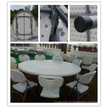 Dia 180cm molde de soplado HDPE plástico ligero portátil apilable almacenamiento fácil plegable mesa redonda (hq-y180)