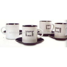 set 4 coffee color glazed round cup and saucer for BS09030