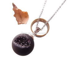 Fashion Natural Agate Druzy Ball Necklace