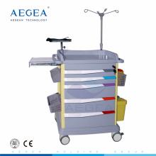 AG-ET017 seis cajones con llave de cierre central ABS cuerpo de plástico médicos carros de hospital