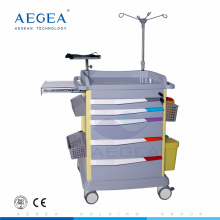 AG-ET017 six drawers with central locking key ABS body medical plastic hospital trolleys