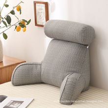 Plush Memory Foam Fill Big Backrest Reading Bed Rest Pillow with Arms