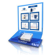 Z Form Blue Acrylic Soporte de mostrador superior