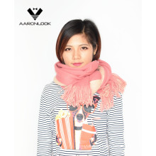 Lady′s Soft Acrylic Double Face Stretch Knit Scarf