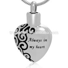 Forme de coeur exquise à graver toujours dans mon cœur pendentif de cendres claires