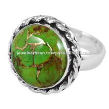 Schöner grüner Kupfer Türkis Edelstein 925 Sterling Silber Ring