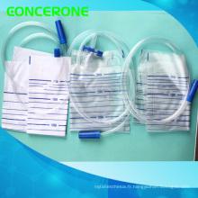 Sac médical jetable de drainage d'urine avec la valve croisée