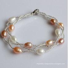 Cheap 100% Real Freshwater Pearl Bracelet (EB1531-1)