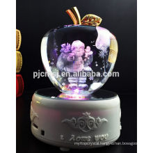 customize crystal apple with 3d laser Santa Claus and color light led base