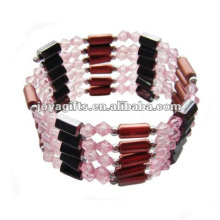 Magnetic Pink Glass Beads wrap Bracelets & Necklace 36""