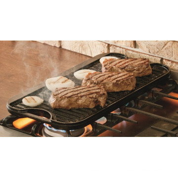 Reversible cast iron preseasoned griddle pan for BBQ