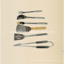 6 peças aço inoxidável ferramentas de churrasco ao ar livre com caixa de alumínio