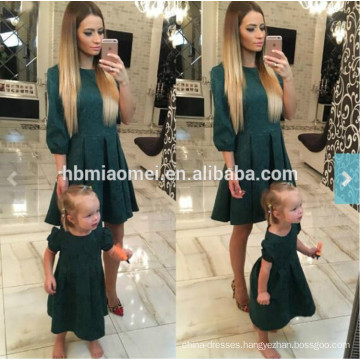 2017 European new fashion summer family matching clothing mother and daughter long maxi dress