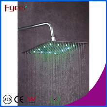 Fyeer LED Slim Rainfall Shower Head Bathroom Faucet Color Changed by Water Temperature