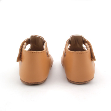 Shenzhen Wholesale Brown Lacework Baby T Bar Shoes