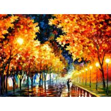 Peinture à l'huile d'arbre de paysage d'automne pour le décor